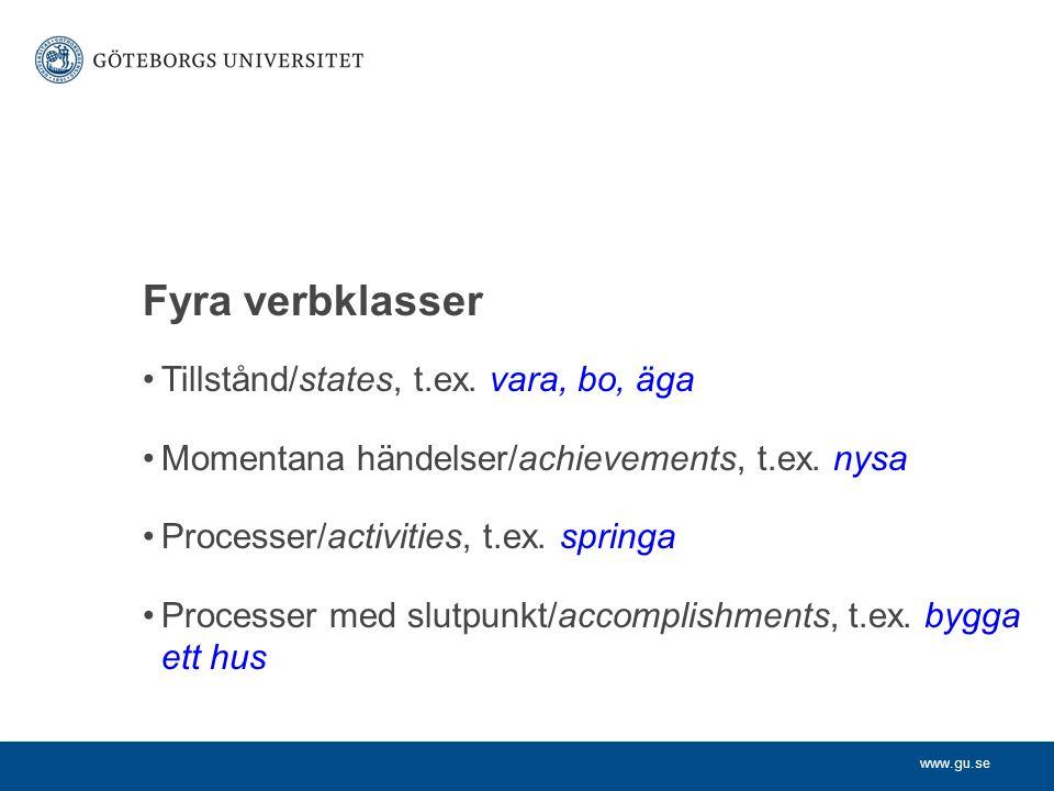 Fyra verbklasser Tillstånd/states, t.ex. vara, bo, äga