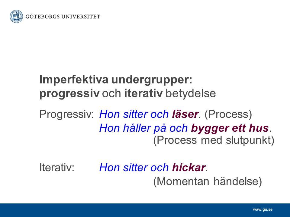 Imperfektiva undergrupper: progressiv och iterativ betydelse