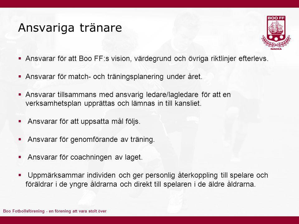 Ansvariga tränare Ansvarar för att Boo FF:s vision, värdegrund och övriga riktlinjer efterlevs.