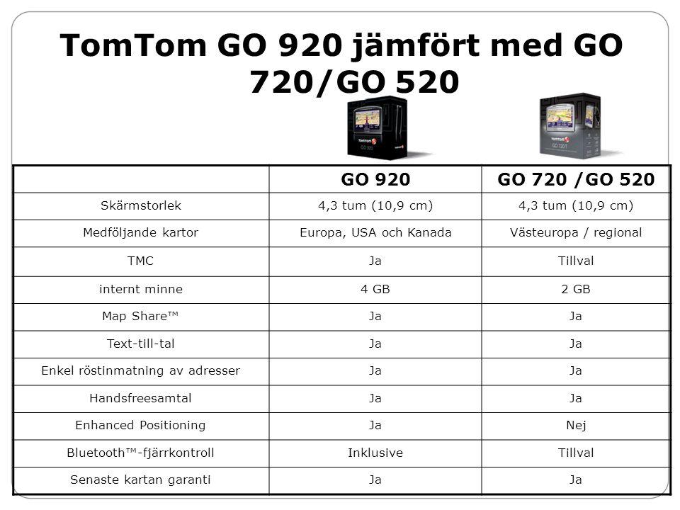TomTom GO 920 jämfört med GO 720/GO 520