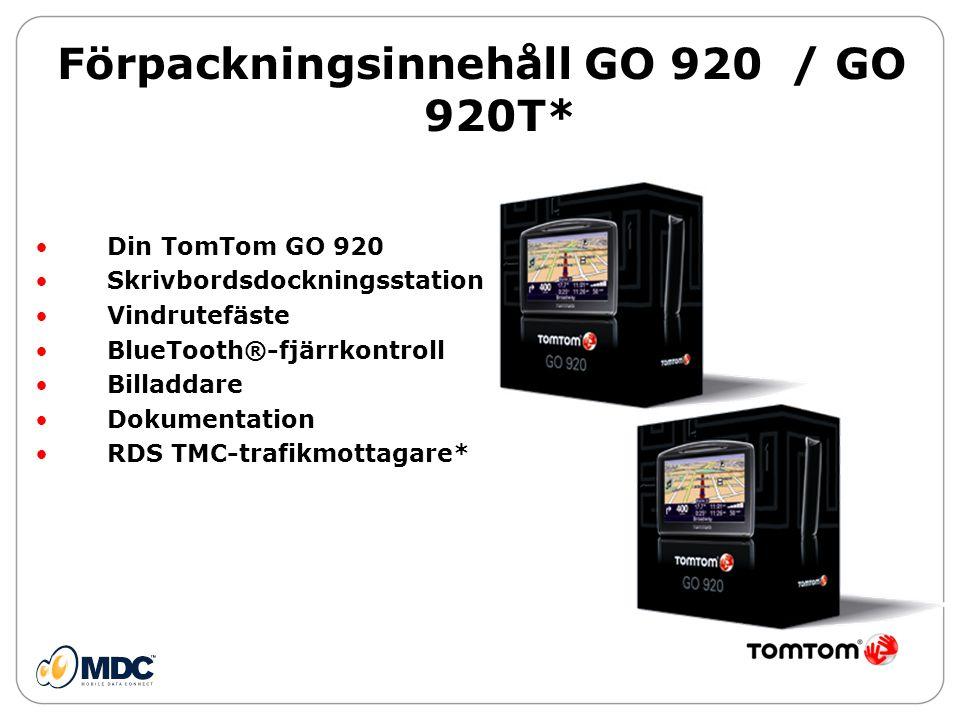 Förpackningsinnehåll GO 920 / GO 920T*