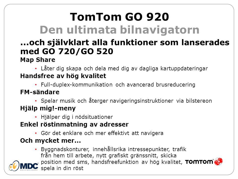 TomTom GO 920 Den ultimata bilnavigatorn