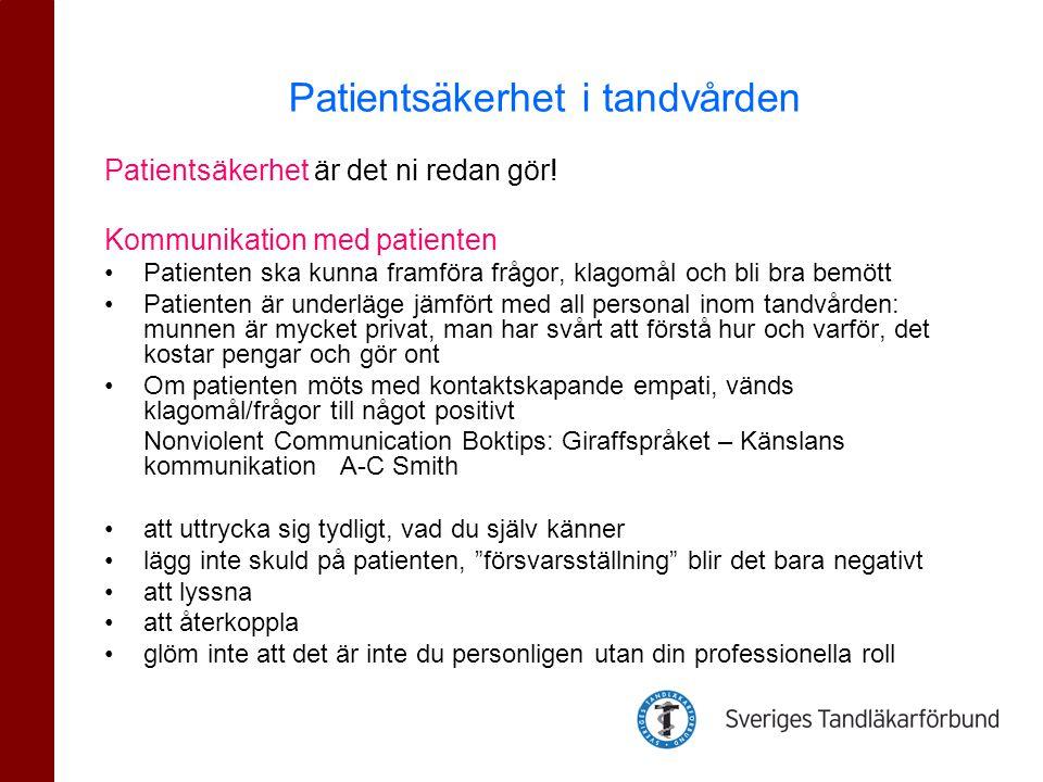 Patientsäkerhet i tandvården
