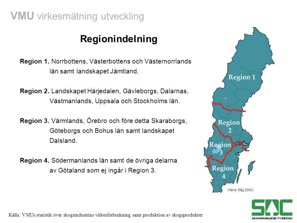 Regionindelning Region 1. Norrbottens, Västerbottens och Västernorrlands. län samt landskapet Jämtland.