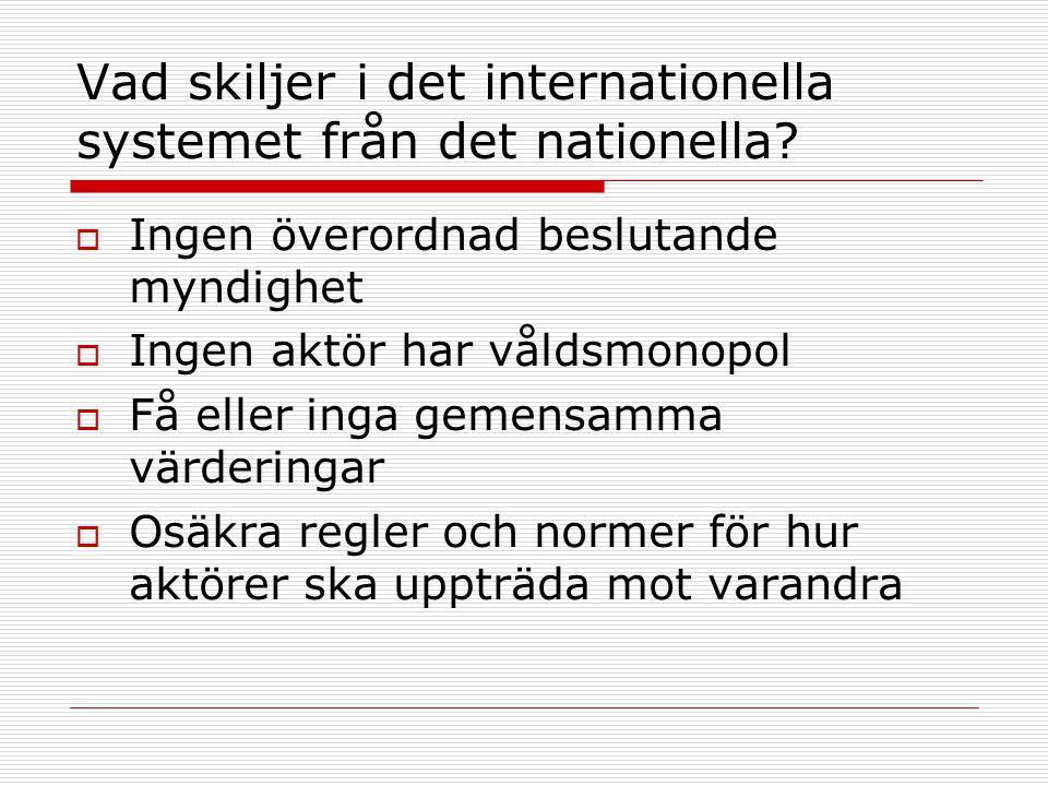 Vad skiljer i det internationella systemet från det nationella