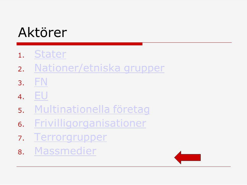 Aktörer Stater Nationer/etniska grupper FN EU Multinationella företag