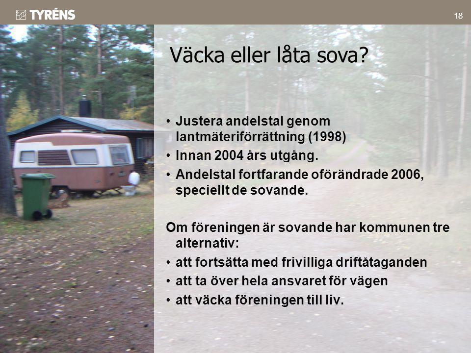 Väcka eller låta sova Justera andelstal genom lantmäteriförrättning (1998) Innan 2004 års utgång.
