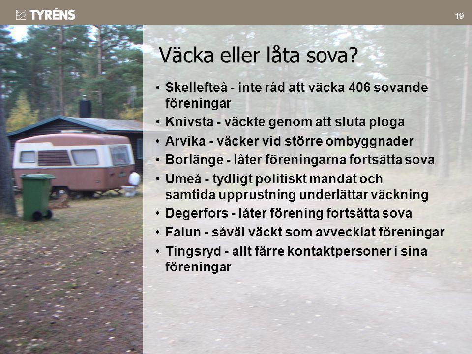 Väcka eller låta sova Skellefteå - inte råd att väcka 406 sovande föreningar. Knivsta - väckte genom att sluta ploga.