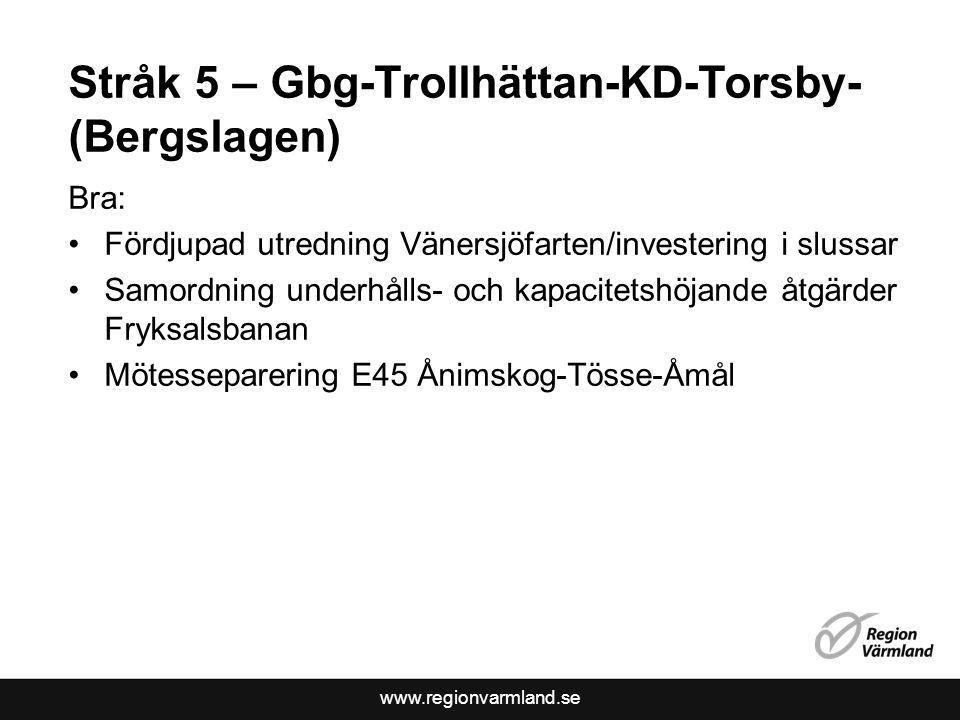 Stråk 5 – Gbg-Trollhättan-KD-Torsby-(Bergslagen)