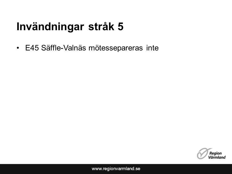 Invändningar stråk 5 E45 Säffle-Valnäs mötessepareras inte