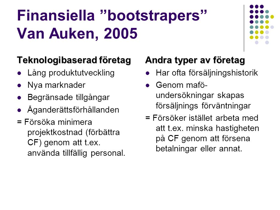Finansiella bootstrapers Van Auken, 2005