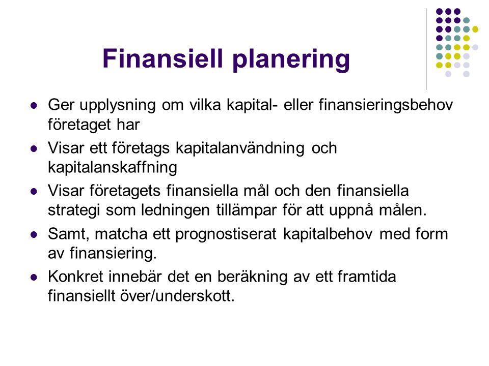 Finansiell planering Ger upplysning om vilka kapital- eller finansieringsbehov företaget har.