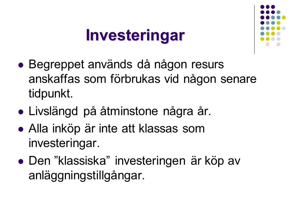 Investeringar Begreppet används då någon resurs anskaffas som förbrukas vid någon senare tidpunkt. Livslängd på åtminstone några år.