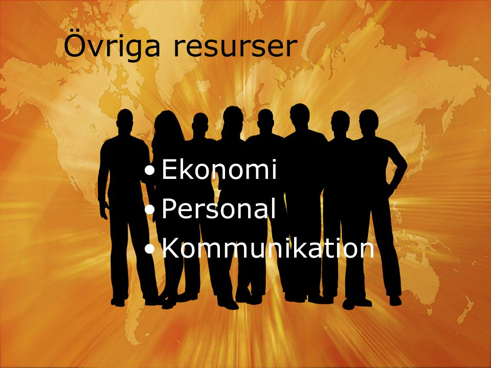 Övriga resurser Ekonomi Personal Kommunikation