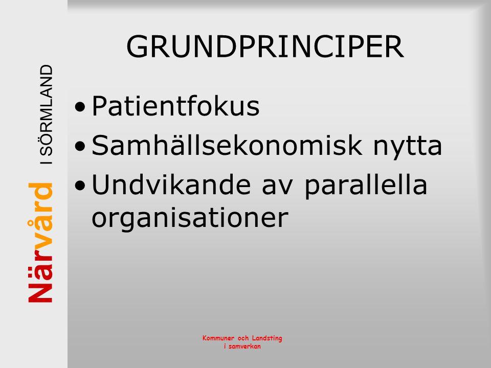 GRUNDPRINCIPER Patientfokus Samhällsekonomisk nytta