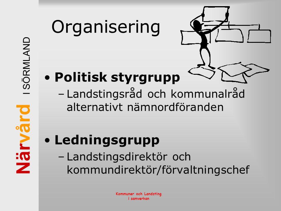 Organisering Politisk styrgrupp Ledningsgrupp