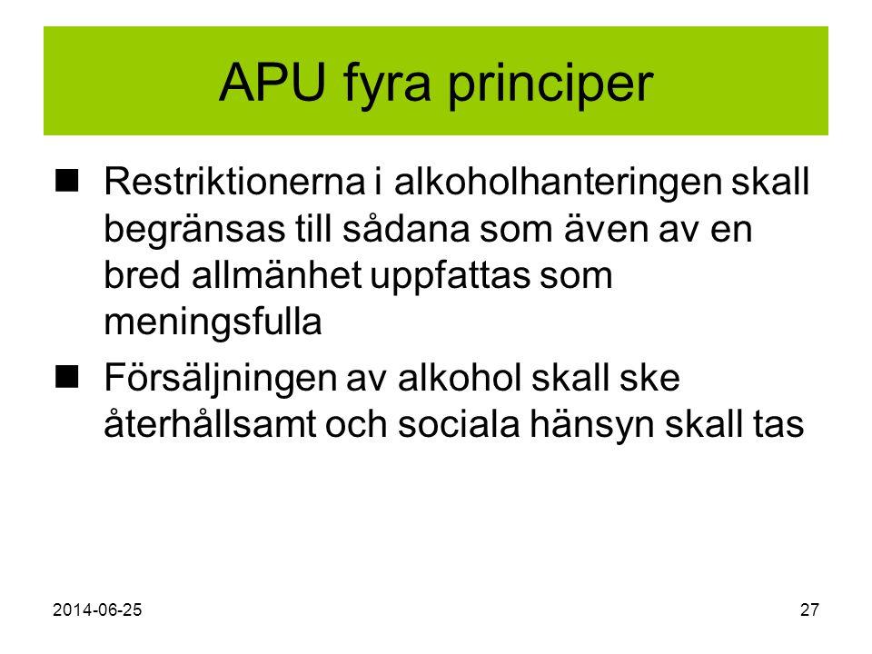 APU fyra principer Restriktionerna i alkoholhanteringen skall begränsas till sådana som även av en bred allmänhet uppfattas som meningsfulla.