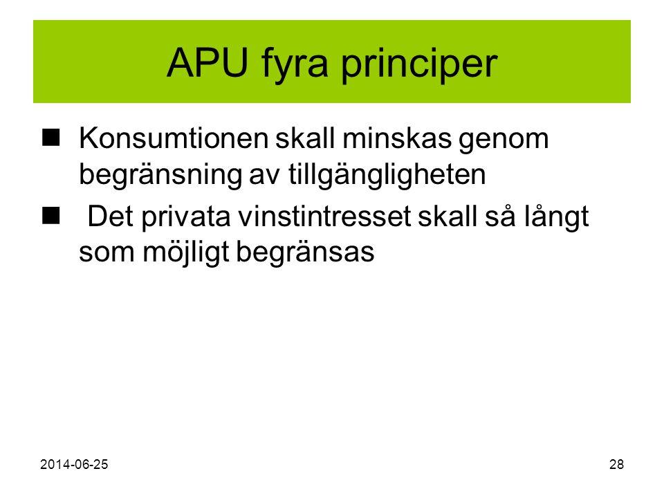 APU fyra principer Konsumtionen skall minskas genom begränsning av tillgängligheten. Det privata vinstintresset skall så långt som möjligt begränsas.
