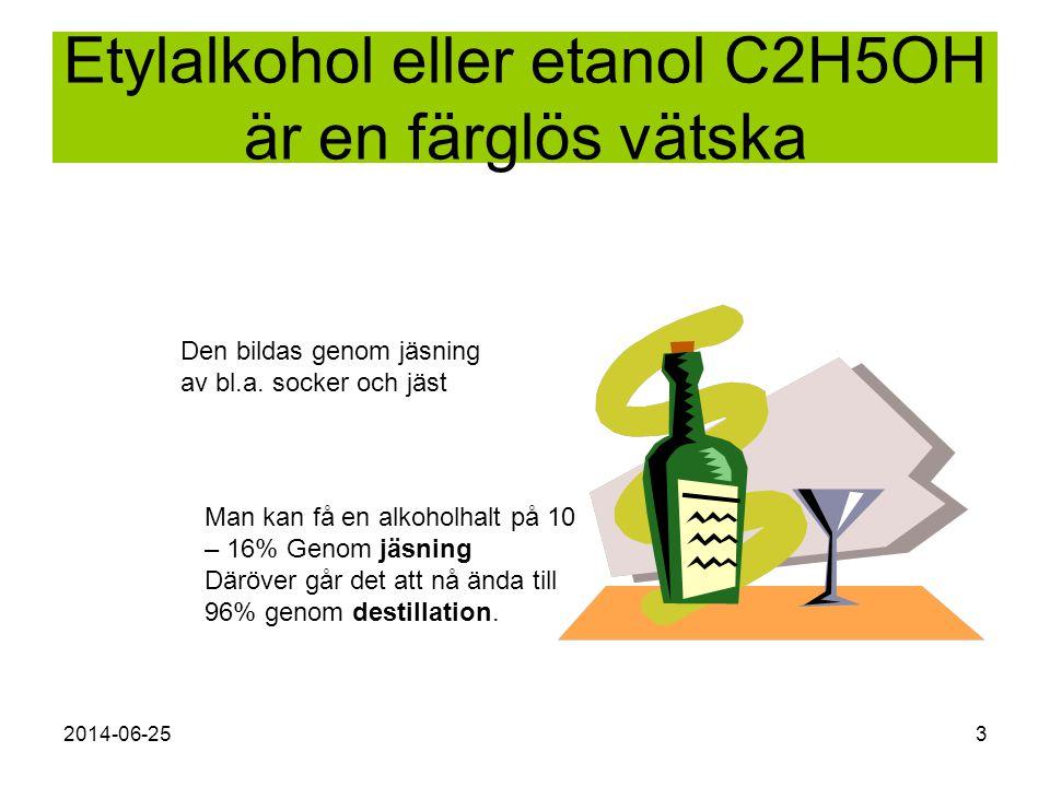Etylalkohol eller etanol C2H5OH är en färglös vätska