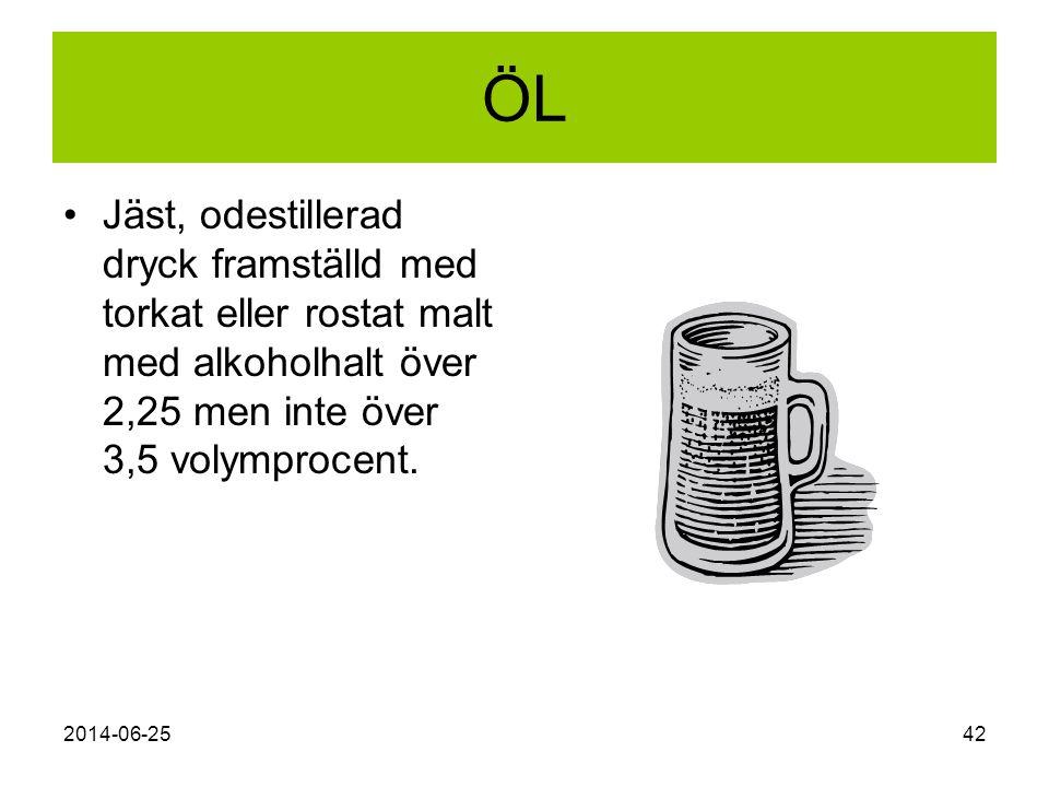 ÖL Jäst, odestillerad dryck framställd med torkat eller rostat malt med alkoholhalt över 2,25 men inte över 3,5 volymprocent.