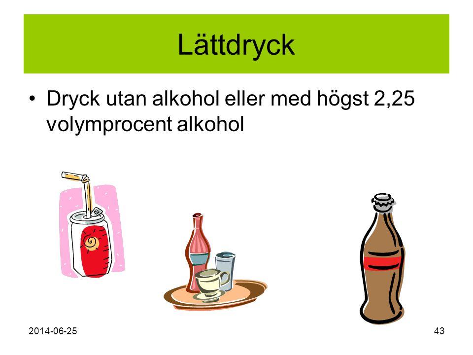 Lättdryck Dryck utan alkohol eller med högst 2,25 volymprocent alkohol