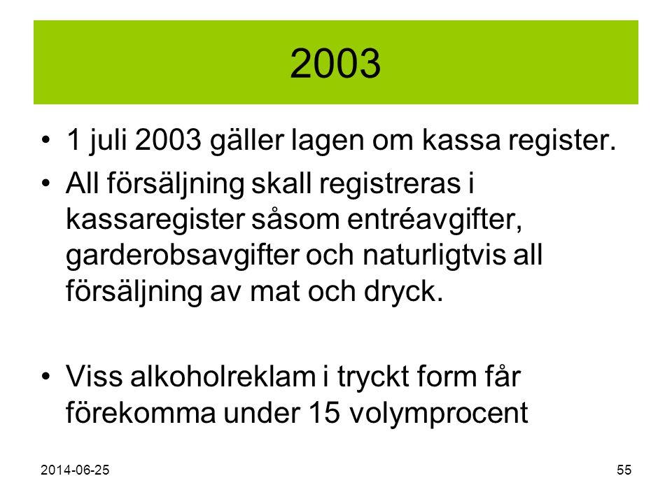 2003 1 juli 2003 gäller lagen om kassa register.