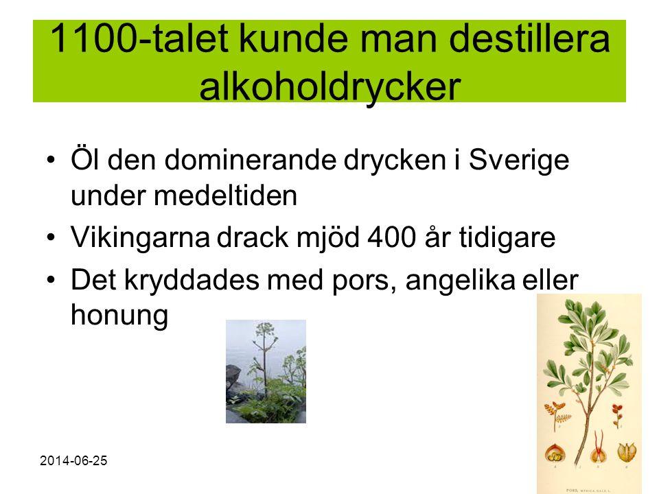 1100-talet kunde man destillera alkoholdrycker
