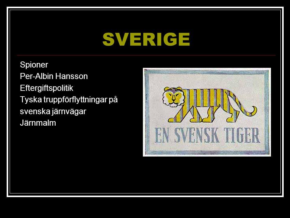 SVERIGE Spioner Per-Albin Hansson Eftergiftspolitik