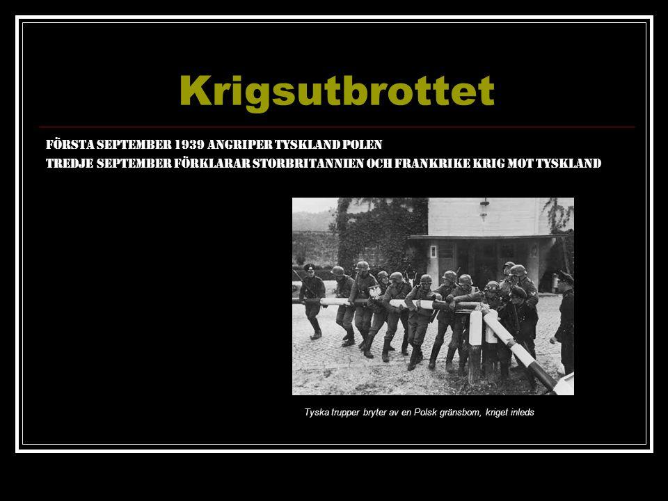 Krigsutbrottet Första September 1939 Angriper Tyskland Polen