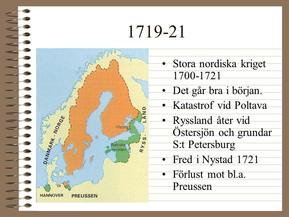 1719-21 Stora nordiska kriget 1700-1721 Det går bra i början.