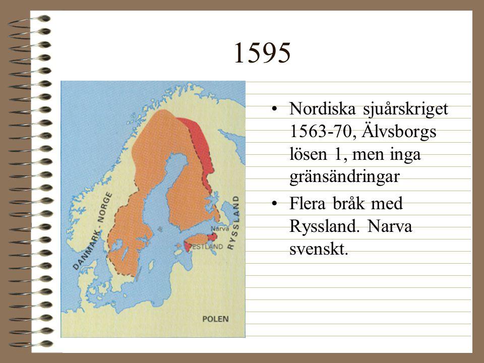 1595 Nordiska sjuårskriget 1563-70, Älvsborgs lösen 1, men inga gränsändringar.