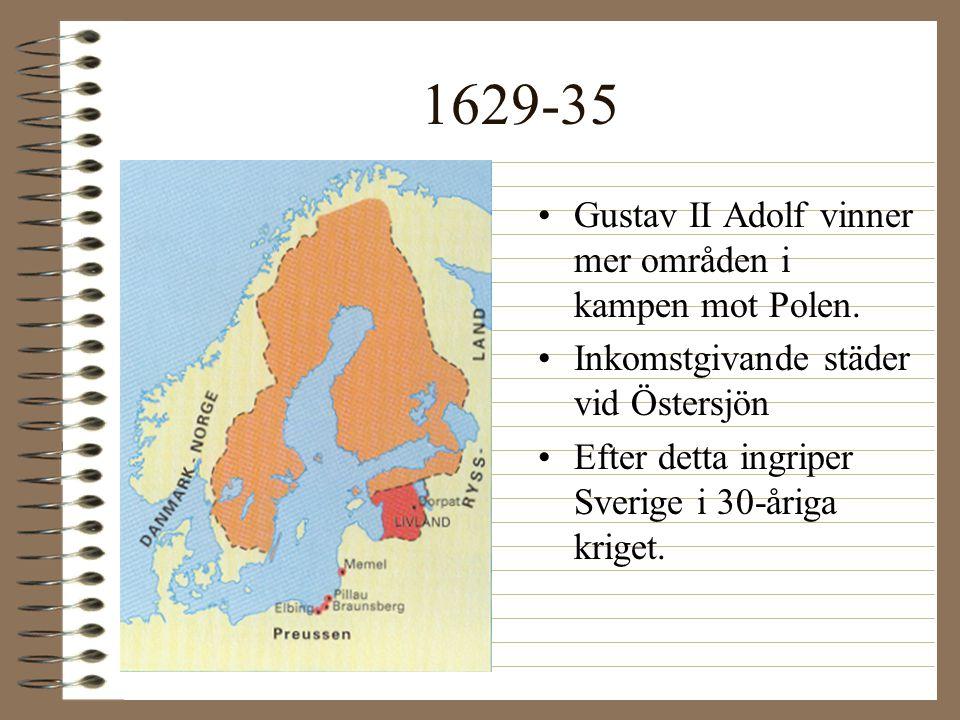 1629-35 Gustav II Adolf vinner mer områden i kampen mot Polen.