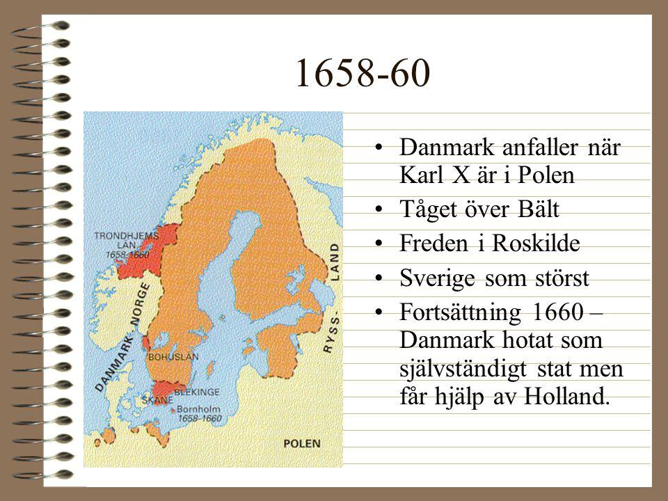 1658-60 Danmark anfaller när Karl X är i Polen Tåget över Bält