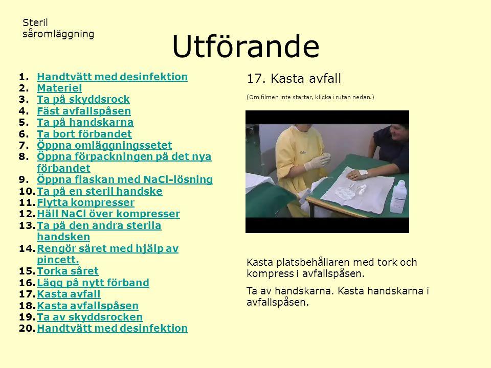 Utförande 17. Kasta avfall Steril såromläggning