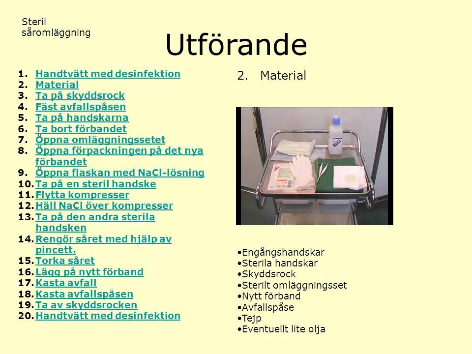 Utförande 2. Material Steril såromläggning Handtvätt med desinfektion