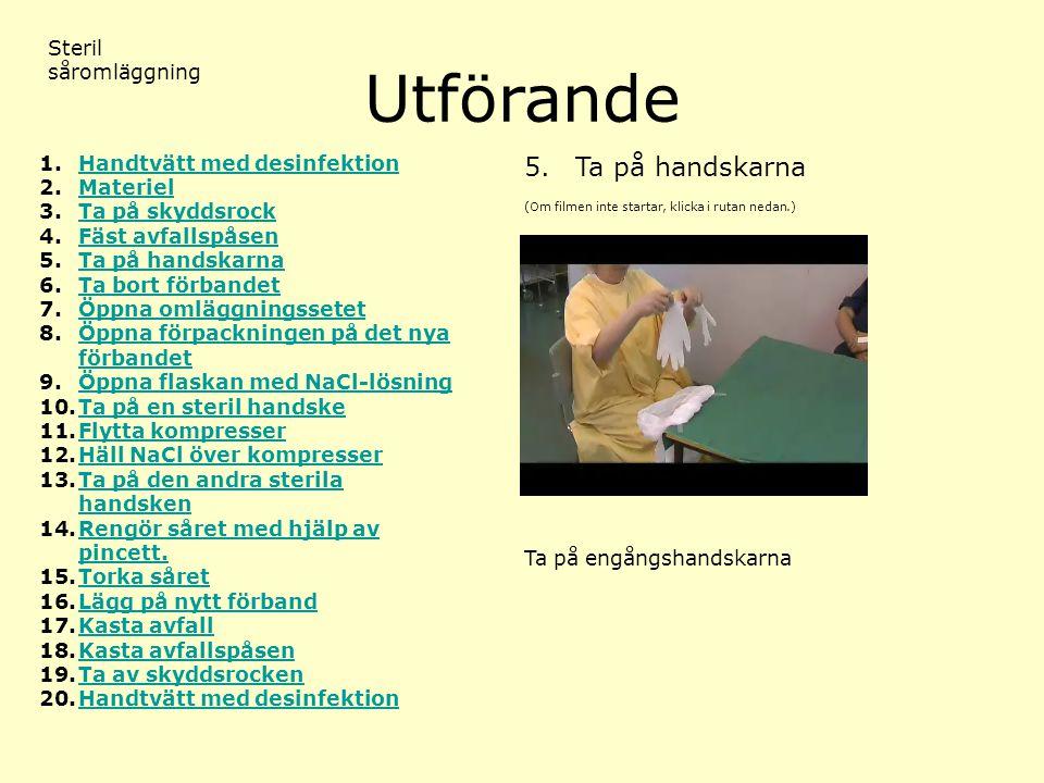 Utförande 5. Ta på handskarna Steril såromläggning