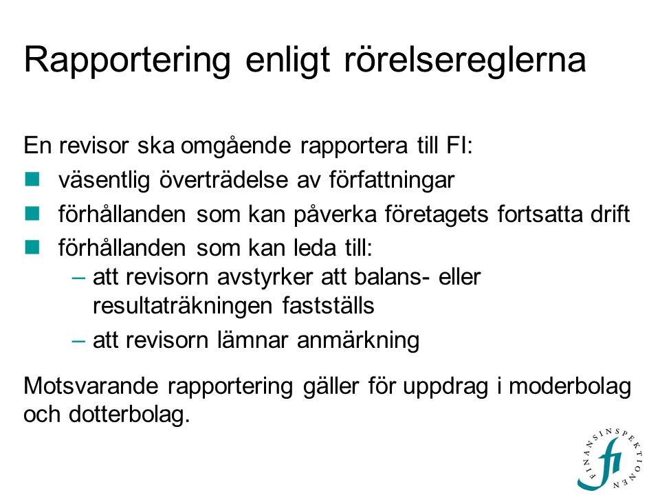Rapportering enligt rörelsereglerna