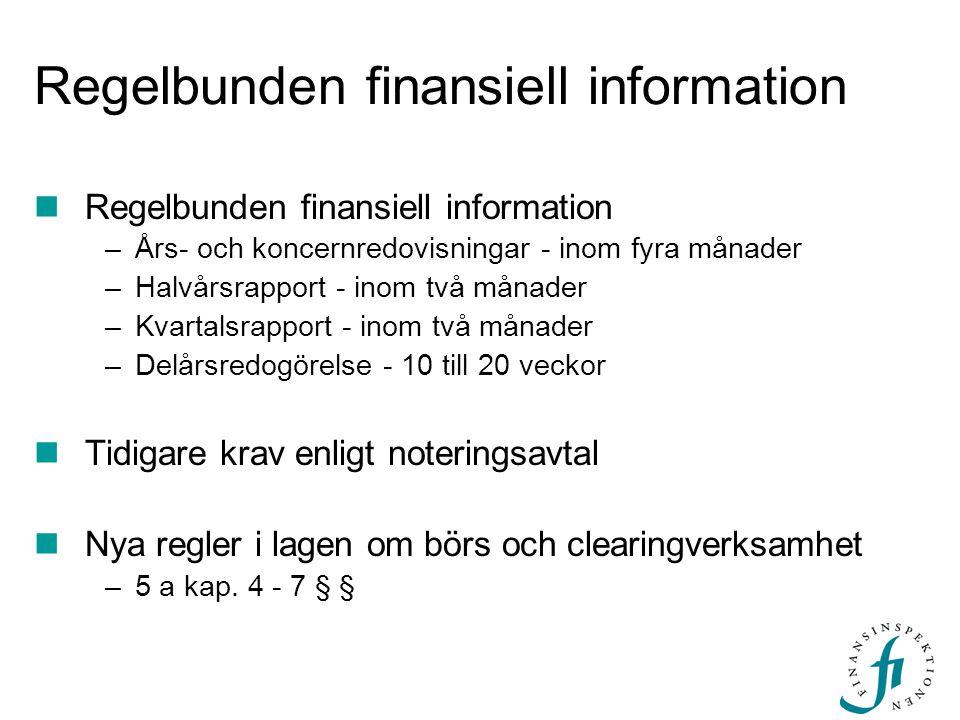 Regelbunden finansiell information