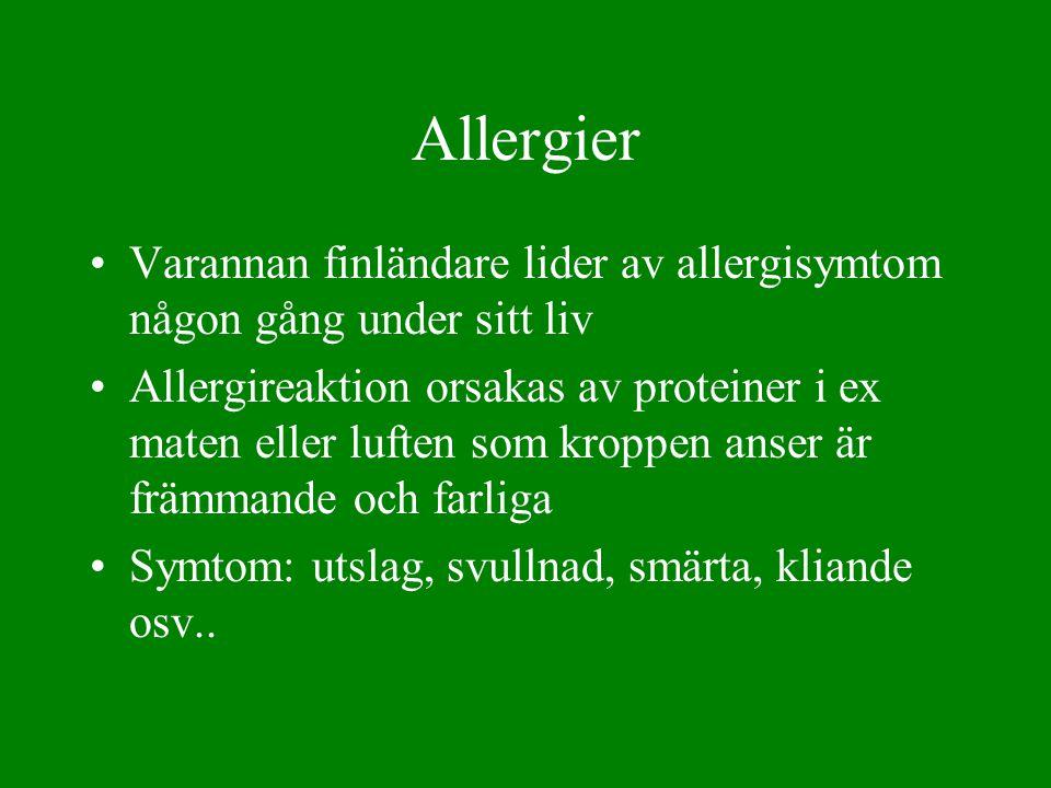 Allergier Varannan finländare lider av allergisymtom någon gång under sitt liv.