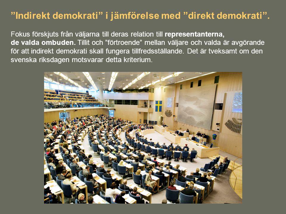 Indirekt demokrati i jämförelse med direkt demokrati .