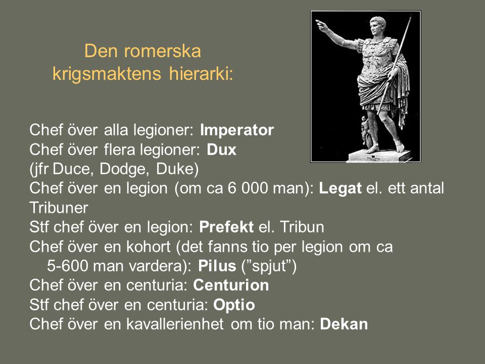 Den romerska krigsmaktens hierarki: