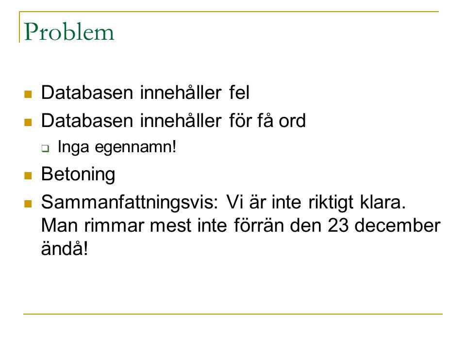 Problem Databasen innehåller fel Databasen innehåller för få ord