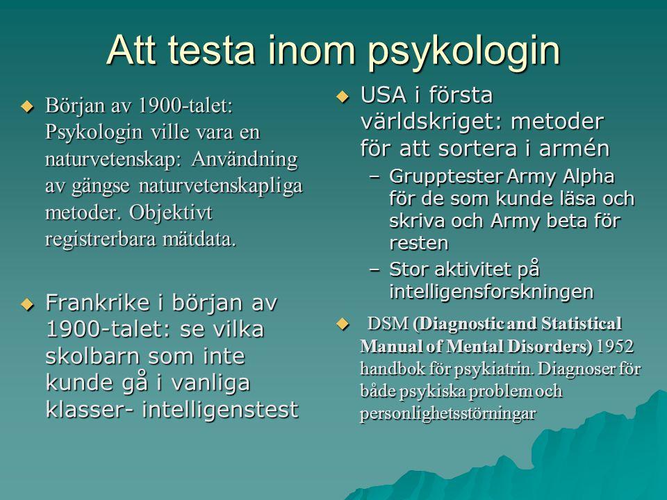 Att testa inom psykologin