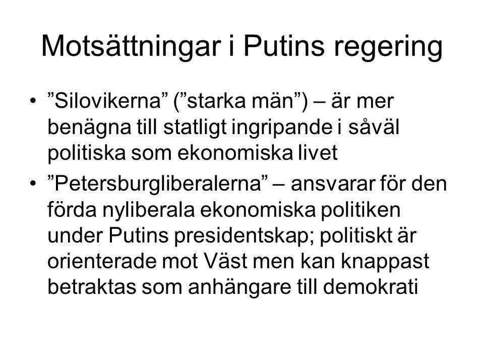 Motsättningar i Putins regering
