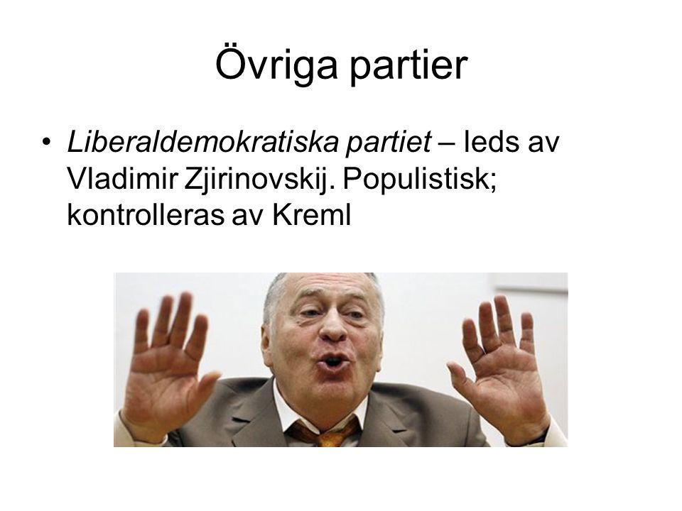 Övriga partier Liberaldemokratiska partiet – leds av Vladimir Zjirinovskij.
