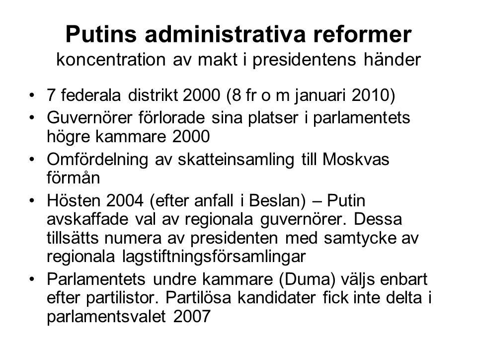 Putins administrativa reformer koncentration av makt i presidentens händer