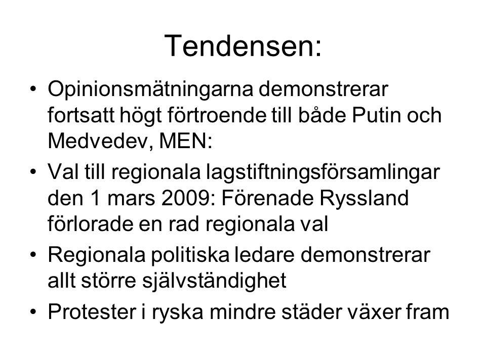 Tendensen: Opinionsmätningarna demonstrerar fortsatt högt förtroende till både Putin och Medvedev, MEN: