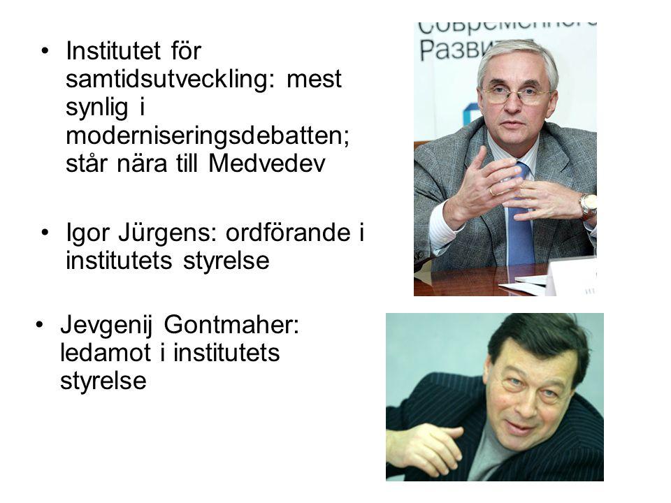 Institutet för samtidsutveckling: mest synlig i moderniseringsdebatten; står nära till Medvedev