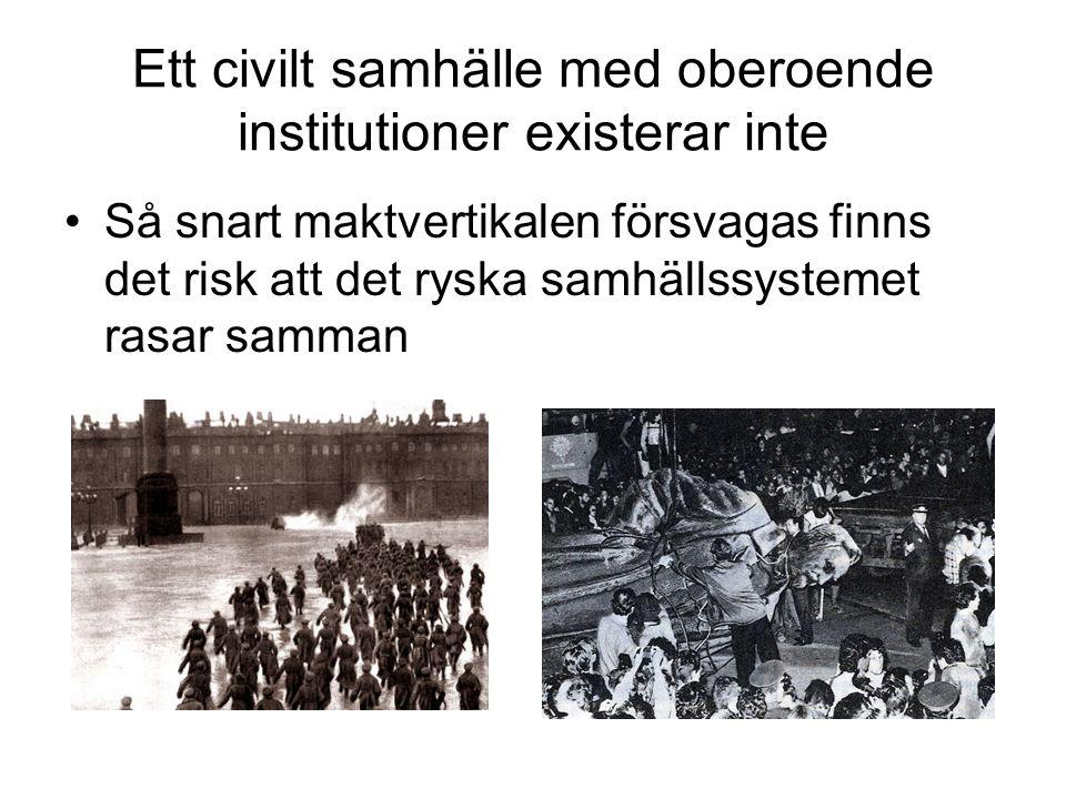 Ett civilt samhälle med oberoende institutioner existerar inte
