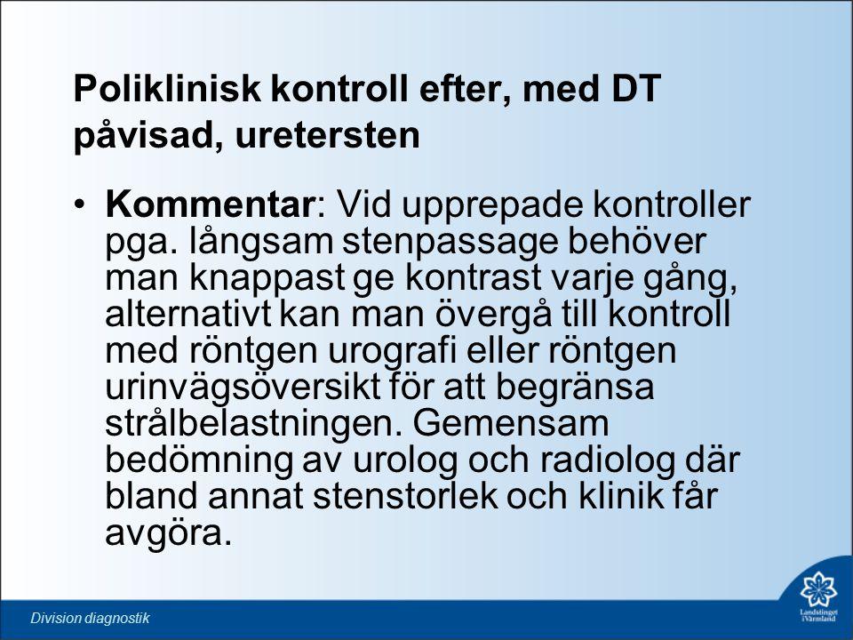 Poliklinisk kontroll efter, med DT påvisad, uretersten